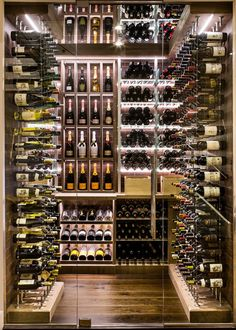 Custom Wine cellar by Papro Consulting Cable Wine System Transitional Custom Wine cellar by Papro Consulting Cable Wine System Glass Wine Cellar, Home Wine Cellars, Wine Cellar Design, Wine Cellar Basement, Bar A Vin, Home Bar Designs, Wine Display, Wine Wall, Man Cave Home Bar