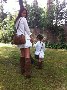 Boho Mother and daughter dressed alike Mother Daughter Matching Outfits, Mother Daughter Fashion, Mom Daughter, Matches Fashion, I Love Fashion, Kids Fashion, Women's Fashion, Mommy And Me Dresses, Mommy And Me Outfits