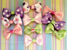 $4.00 Set of 2 Pastel Polka-dot Hair Bows www.bowemgee.com