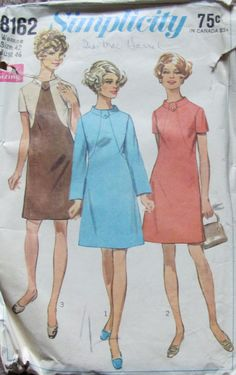 Vintage 60s Simplicity 8162 Women's Dress by SewYesterdayPatterns (Craft Supplies & Tools, Patterns & Tutorials, Sewing & Needlecraft, Sewing, commercial, sewing pattern, sewing supplies, craft supplies, vintage pattern, simplicity pattern, 1960s pattern, sewyesterdaypatterns, size 42 bust 46, womens dress pattern, 60s dress pattern, misses dress pattern, mod retro dress)