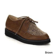 C Label Beston AA60 Women's Up Sweater Flat Heel Lug Sole Oxfords