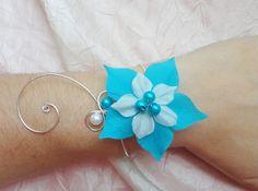 Bracelet mariée, mariage fleur de soir turquoise blanche