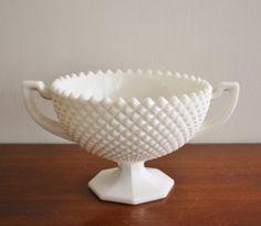 Vintage Westmoreland milk glass pedestal bowl by highstreetmarket, $48.00