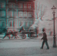 https://flic.kr/p/3Yi1FJ | Fire Engine (stereoscopic) | An amateur photograph of a horse-drawn fire engine. (Germany, about 1900)