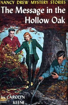 A group of professional detectives challenge Nancy to tackle a mystery they have failed to solve: find an invaluable message hidden by a missionary centuries ago in hollow tree in Illinois. While searching the woods for tree, Nancy, Bess, and George take part in an archaeological dig investigating Indian burial mounds. A mysterious enemy stalks her and it becomes a race to find the message and the treasure it reveals. Carolyn Keene is pseudonymn for authors of Nancy Drew books
