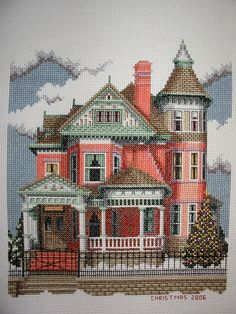 Victorian cross stitch based on a real home. The Ferris Mansion, located in Rawlings Montana is a Queen Anne country house built in 1903 by Julia Child Ferris. Like a chart? Order one here:  http://www.debbiepatrickdesigns.com/detail.cfm?ID=299