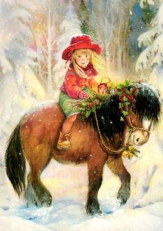 A cute little girl riding an equally cute pony! (Artist: Lisi Martin.)