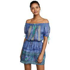 Bell Off the Shoulder Dress (650 BRL) ❤ liked on Polyvore featuring dresses, off-the-shoulder dress, blue evening dresses, off shoulder floral dress, evening dresses and short evening dresses