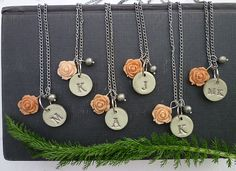 Silver Frost Bridesmaids Necklaces Taupe and peach by Palomaria