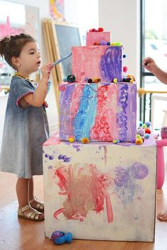 Make a cardboard birthday cake for your next birthday party. So much fun!!!