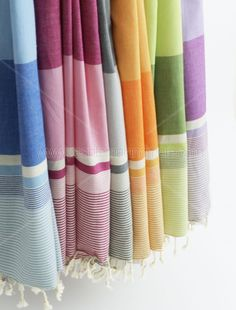 Peshtemal Turkish Bath Towel $19.99 each  Measures 40 x 69 in. 250 grams per meter  Hand Loomed; 100% Cotton