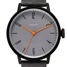 SVT-CN38 (grey/black) watch by TSOVET. Available at Dezeen Watch Store: www.dezeenwatchstore.com