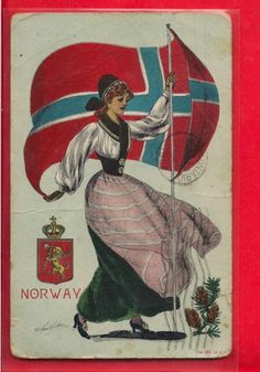 Woman with Flag Norway Norge Old 1908 Signed Artist Drawn Style PC Post Card | eBay