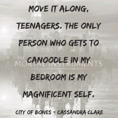 City of bones : the mortal instruments  I just like the use of the word canoodle haha. :-)