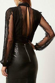 Black lace crop top £30.00 #JustArrived #RiverIsland