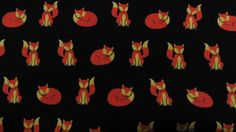 """100%+Cotton+-+Mr+and+Mrs+Fox+on+a+Black+Background+-+£5.95/metre+-+112cms+or+44"""", £5.95"""
