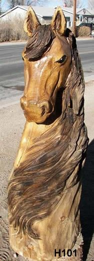 Horse Head Bust Chainsaw Carving Source by natashaspivack Chainsaw Wood Carving, Wood Carving Art, Wood Carvings, Chain Saw Art, Tree Carving, Wooden Art, Wooden Horse, Horse Sculpture, Wood Creations