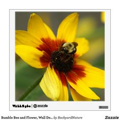 Bumble Bee and Flower, Wall Decal. Wall Decal