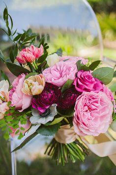 beautiful pink peony wedding bouquet