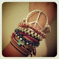 Peace and love - Hemp Bracelet