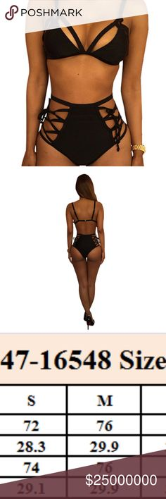 Black Brazilian high waisted  Bikini Feature: with straps; hollow out Material: Nylon Spandex In this bikini one will enjoy the beautiful time on the beach or swim pool, for this comfortable soft fabric will bring you the unprecedented feelings. Besides, the nice design will make you the focus when you are swimming. High waisted! Swim Bikinis