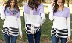 Spring outfit inspiration - Lilac top and scarf - www.csgemsjewelry.com