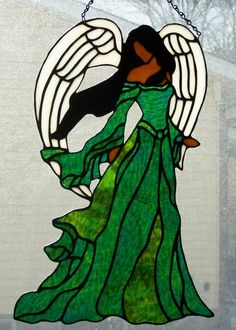angel stained glass |Stained Glass Panel Angel | Stained glass beauty