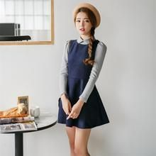 Porta - Inset Collared Knit Top A-Line Dress