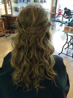 Prom hair half up medium to long hair fishtail braid curly blonde brunette