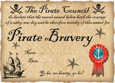 free printable Pirate Certificate of Bravery (Ready to personalise)