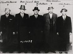 (left to right) Joseph 'Nig' Rosen, Benjamin 'Bugsy' Siegel, Harry Teitelbaum, Harry 'Big Greenie' Greenberg, Louis 'Lepke' Buchalter Bugsy Siegel, Real Gangster, Mafia Gangster, Mafia Crime, Mafia 4, Al Capone, Tough Guy, True Crime, Mug Shots