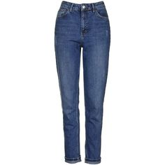 TopShop Moto Dark Blue Mom Jeans ($58) ❤ liked on Polyvore featuring jeans, blue, blue high waisted jeans, highwaisted jeans, tapered leg jeans, cuffed jeans and topshop jeans
