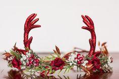 Antler Flower Crown - Woodland Theme Flower Rustic Halo - Christmas Prop - Wedding - Deer Newborn Prop - Wedding Crown - Floral Hairpiece by LittleLadyAccessory on Etsy