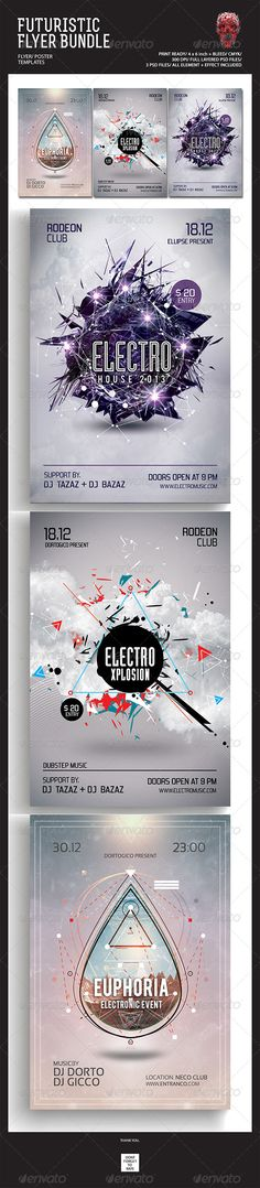 """Futuristic Flyer/Poster Bundle #GraphicRiver Featured Flyers Flyer Artwork """"Futuristic Flyer/Poster Bundle"""" This flyer was designed to promote an Electro / Dubstep / Dance / Drum and Bass / Techno / House music event, such as a gig, concert, festival, dj set, party or weekly event in a music club and other kind of special evenings. This flyer can also be used for a new album promotion or other advertising purposes. Detail : 3 Psd files 4×6 with 0.25 inch bleed area 300 dpi/CMYK Organized…"""