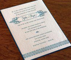South Asian Royal Letterpress Wedding Card - Shoba   Invitations by Ajalon