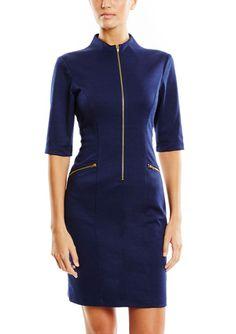 On ideel: CONNECTED Elbow Sleeve Zip Collar Sheath Dress