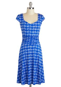 Ready, Wheeling, and Able Dress - Novelty Print, Long, Blue, White, Ruching, Casual, A-line, Cap Sleeves