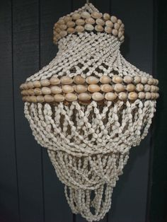 Vintage Cowrie Shell Swirl Chandelier from the 1970s