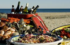 A colorful and succulent display of a traditional New England-style clambake.