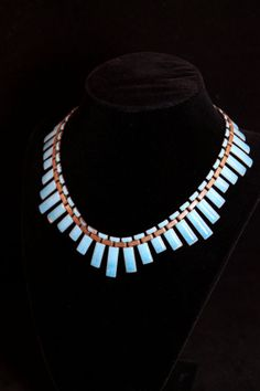 SALE Amazing Matisse Peter Pan Blue Statement Necklace - Copper and Enamel (Vintage 1950s, Bridal, Wedding) FREE Shipping ✿ SPECIAL SALE – Use Coupon Code: GIVETHANKS to save 20% off your entire order! Sale ends Monday 12/2 at Midnight! ✿