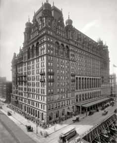 The original Waldorf-Astoria Hotel opens in 1897, combining the Astor and Waldorf hotels. It was destroyed in 1929 to make way for the Empire State Building and the hotel moved to 301 Park Ave. New York City, New York.