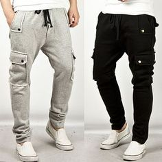 Bottoms :: Double Button Cargo Pocket Accent Semi-Baggy Sweatpants - 39 - New and Stylish - Fast Mens Fashion - Mens Clothing - Product