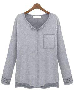 Grey Long Sleeve Pocket Modal T-Shirt US$22.79
