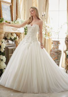 Crystal Beaded Embroidery on Gored Tulle Ball Gown Wedding Dress Designed by Madeline Gardner. Colors Available: White/Silver, Ivory/Silver, Light Gold/Silver