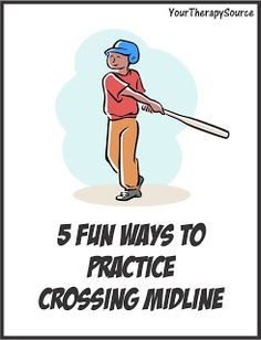 Here are 5 fun ways to encourage crossing midline: Hit a ball holding a bat with two hands or any activities that encourage bilateral coordination skills. Put a ball on a tee or hang one from the ceiling. Practice hitting the ball always making sure Gross Motor Activities, Gross Motor Skills, Therapy Activities, Autism Activities, Sensory Activities, Classroom Activities, Pediatric Occupational Therapy, Pediatric Ot, Therapy Tools