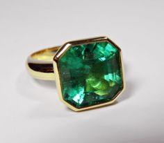 9.57ct NATURAL FINE COLOMBIAN NATURAL GREEN EMERALD SOLITAIRE RING HUGE AAA+++