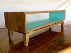 Handmade Midcentury modern TV console in solid walnut (with painted interior)