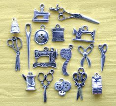 Deluxe Sewing Charm Collection Antique Tibetan Silver Tone 17 Charms - COL246