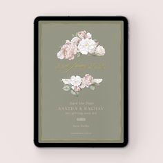 Save the date in dusty pinks and muted green Dusty Pink Weddings, Digital Invitations, Wedding Stationery, Save The Date, Getting Married, Dating, Studio, Frame, Green