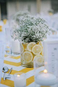 Show off your style and personality with the perfect wedding centerpiece. Get inspiration from our 120 stunning wedding centerpieces and find what is right for you. Wedding Brunch Reception, Wedding Reception Centerpieces, Bridal Shower Decorations, Wedding Table, Lemon Centerpiece Wedding, Lemon Centerpieces, Candy Centerpieces, Graduation Centerpiece, Centerpiece Flowers